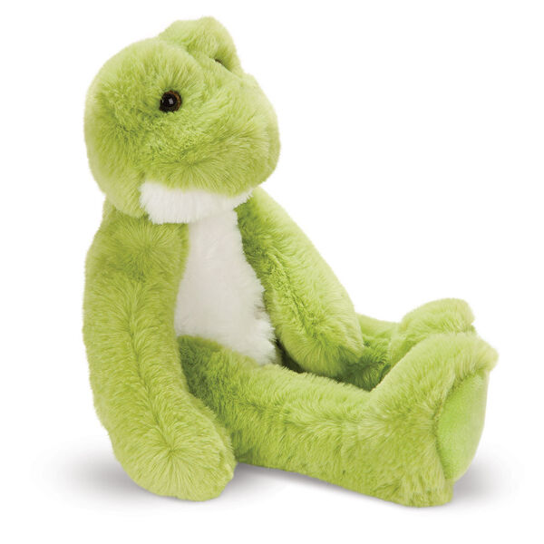 """15"""" Buddy Frog - Side view of seated plush green slim frog with white belly and brown eyes image number 8"""