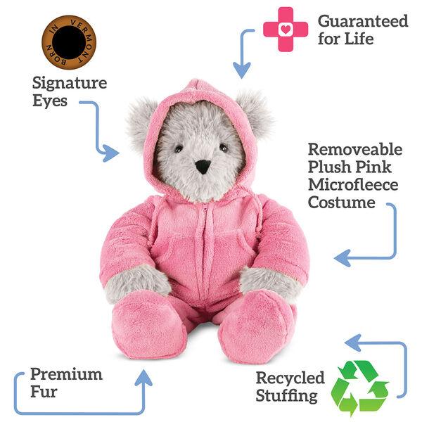 "18"" Gray Super Soft Pink Hoodie Footie Bear image number 1"