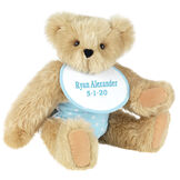 """15"""" Baby Boy Bear - Seated jointed bear dressed in light blue with white dots fabric diaper and bib. Bib with """"Ryan Alexander"""" and """"5-1-20"""" in light blue lettering - Maple brown fur image number 6"""