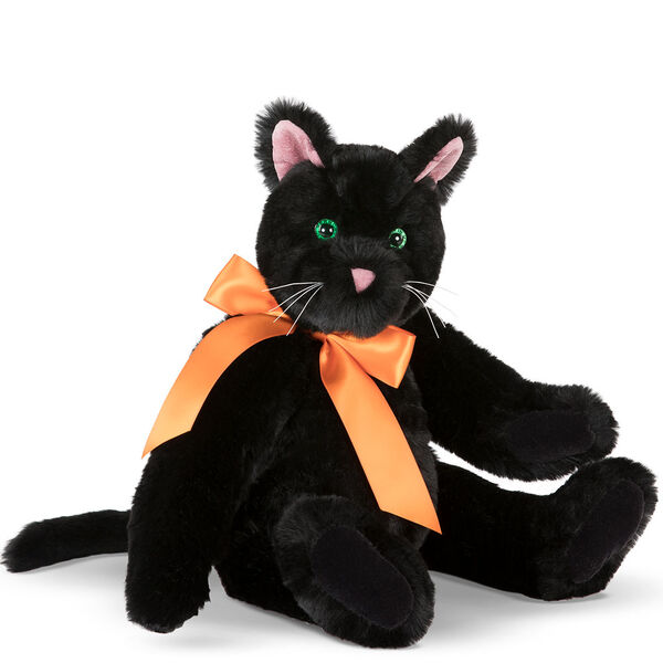 """15"""" Classic Black Cat - Front view of seated jointed cat with pink ears, black foot pads and green glow in the dark eyes dressed in an orange satin bow - Black fur image number 0"""