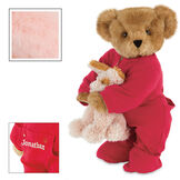 """15"""" Christmas Bedtime Bear with Puppy - Standing jointed bear dressed in white red dropseat onesie with 6"""" tan puppy. Inset image shows """"Jonathan"""" personalized on rear flap of PJ in white - Pink image number 5"""