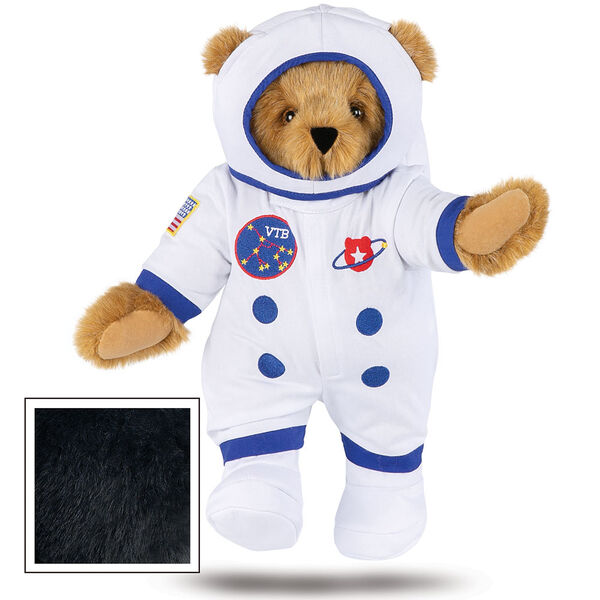 """15"""" Astronaut Bear - Standing jointed bear dressed in white space suit, boots and helmet with blue trim, embroidered patches and American flag - Black fur image number 7"""
