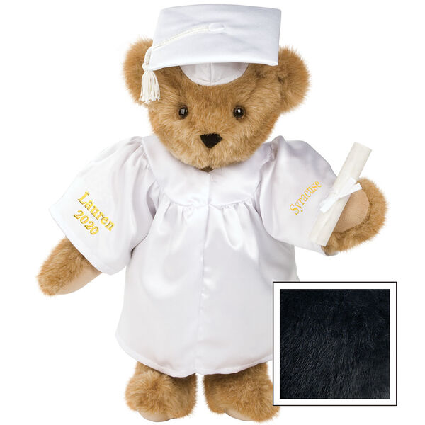 """15"""" Graduation Bear in White Gown - Front view of standing jointed bear dressed in black satin graduation gown and cap and holding a rolled up diplomapersonalized """"Jackson 2020"""" on right sleeve and """"Syracuse"""" on left in gold image number 3"""