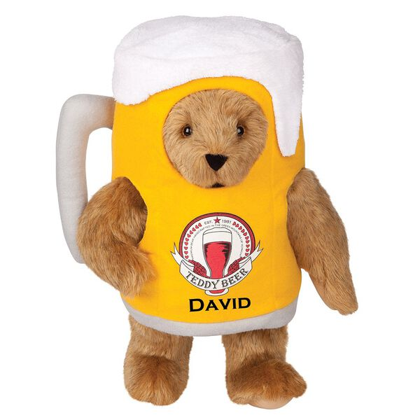 "15"" Cheers to You Bear - Standing jointed bear dressed in gold and white beer mug costume with Vermont Teddy Bear beer bottle graphic that says ""Teddy Beer"". Personalized with David below graphic in black lettering - Honey brown fur image number 0"