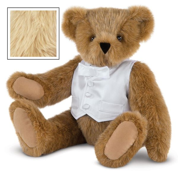 "15"" Special Occasion Boy Bear - Three quarter view of seated jointed bear dressed in a white satin vest and shirt front with bowtie - Maple brown fur image number 4"