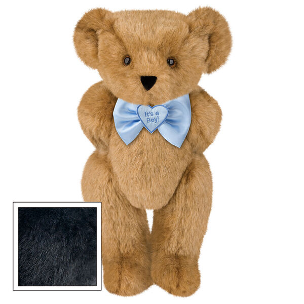 "15"" ""It's a Boy!"" Bow Tie Bear - Standing jointed bear dressed in light blue satin bow tie with ""It's a Boy!"" is embroidered on heart center - Black fur image number 3"
