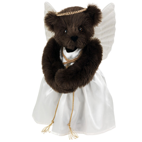 "15"" Angel Bear - Standing jointed bear in a ivory satin dress with satin angel wings and gold metallic halo - Espresso brown fur image number 5"