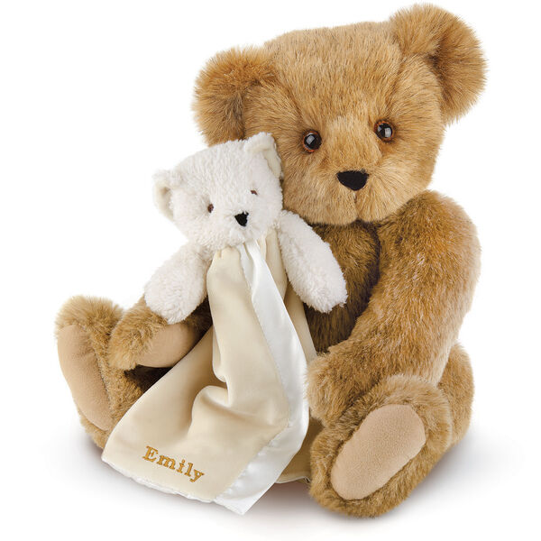 "15"" Cuddle Buddies Gift Set - Front view of seated jointed bear with ivory bear blanket with stroller strap personalized with ""Emily"" in gold lettering on corner of blanket - Honey brown fur image number 0"