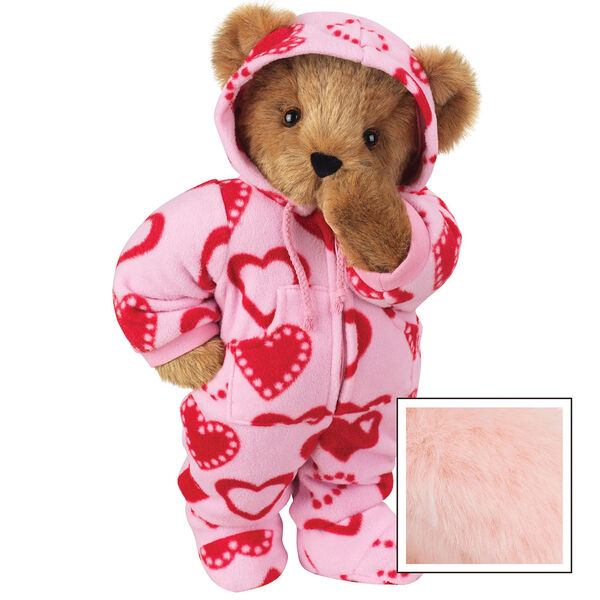 "15"" Hoodie-Footie Sweetheart Bear - Front view of standing jointed bear dressed in pink hoodie footie with red heart pattern personalized with ""Anne"" in black on left chest - Pink image number 5"