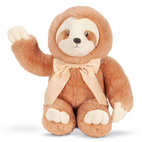 """13"""" Cuddle Cub Sloth with Bow - Front of seated golden brown sloth with tan muzzle and velvet bow image number 0"""