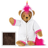 "15"" Unicorn Hoodie Bear - Front view of standing jointed bear dressed in a white fleece hoodie footie with rainbow horn, a hot pink cuffs and fur mane and tail - Espresso brown fur image number 6"
