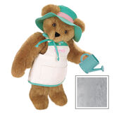 """15"""" """"Everything Grows with Love"""" Bear- Standing jointed bear in tan apron with green trim and flower embroidery, green hat with pink trim and green wooden watering can. Apron is personalized with """"Sarah"""" in pink writing - Gray image number 4"""