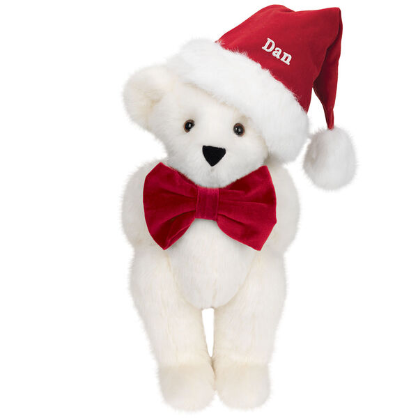 """15"""" Christmas Classic Bear - Standing jointed bear dressed in white red velvet bow tie with red velvet santa hat with white fur trim. Hat is personalized with """"Dan"""" above the fur  - Vanilla white fur image number 2"""