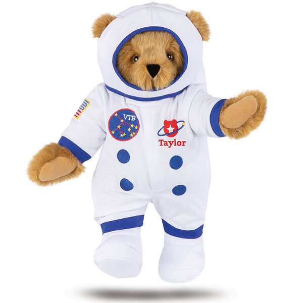 """15"""" Astronaut Bear - Standing jointed bear dressed in white space suit, boots and helmet with blue trim and embroidered patches. Suit is personalized with """"Taylor"""" in red lettering on the left chest below the planet artwork - Honey brown fur image number 0"""