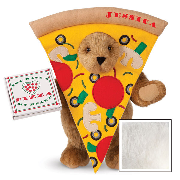"""15"""" Pizza My Heart Bear - Front view of standing jointed bear dressed in a pizza slive costume holding a pizza box that says """"You have a pizza my heart"""", personalized with """"Jessica"""" on the crust in red - Vanilla image number 2"""