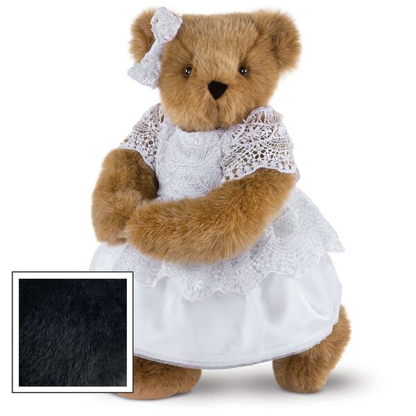 """15"""" Special Occasion Girl Bear - Three quarter view of standing jointed bear dressed in a white satin dress and hair bow with white lace trim - Black fur image number 3"""
