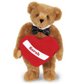 """15"""" Romantic at Heart Bear - Standing jointed bear with tuxedo collar and plush heart pillow, which is personalized with """"Sarah"""" - honey fur image number 1"""