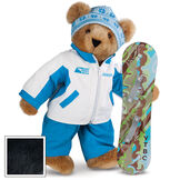 """15"""" Snowboarder Bear - Front view of standing jointed bear dressed in a blue and white snow jacket, blue pants, and holding a snowboard with graphics. Jacket is personalized with """"Jason"""" on the left chest - Black image number 3"""