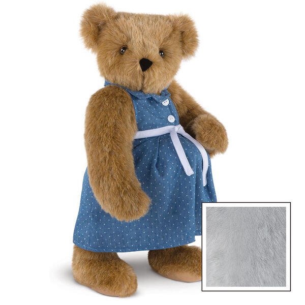 """15"""" Cub in the Oven - Three quarter view of standing pregnant jointed bear dressed in a blue dress with white dots and white belt.  - Gray image number 7"""
