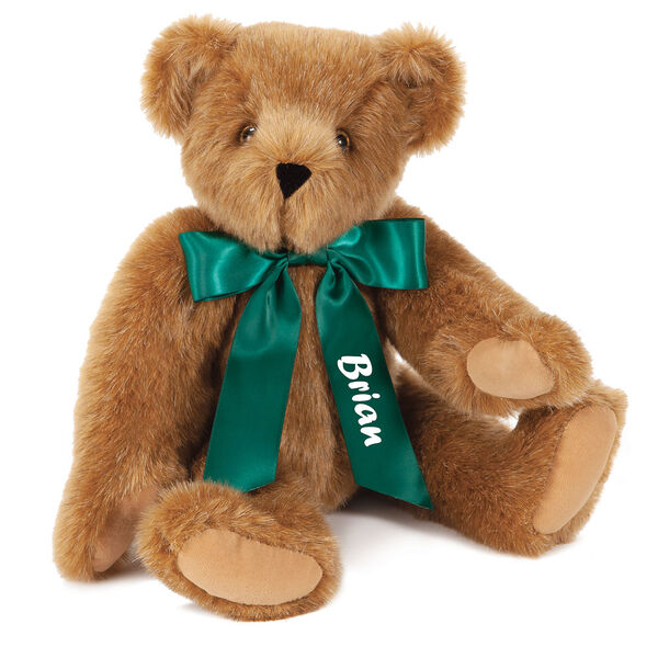 "15"" Green Ribbon Bow Bear  - Front view of seatedjointed bear dressed in a green satin bow with tailspersonalized with ""Brian"" on right tail in white lettering - Honey brown fur image number 0"