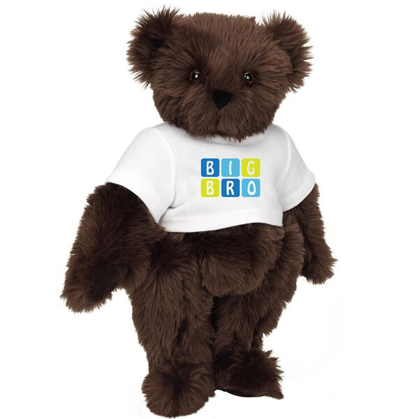 """15"""" BIG BRO T-Shirt Bear - Standing jointed bear dressed in white t-shirt with blue and green graphic that says, """"Big Bro' - Espresso brown fur image number 6"""