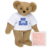 """15"""" 2021 Big Brother T-Shirt Bear - Standing jointed bear dressed in a white t-shirt with royal blue and white artwork that says, """"Big Brother 2021"""" on the front of the shirt - Pink image number 5"""