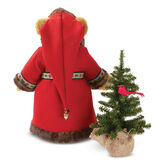 """15"""" Limited Edition Woodland Santa Bear - Back view of standing jointed bear with green eyes dressed in red velvet hooded coat with trim, brown pants, green shirt, white beard and glasses. Holding a Christmas tree with cardinal in branches  - Honey brown fur image number 6"""