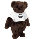 """15"""" Say Anything T-Shirt Bear - Front view of standing jointed bear dressed in white t-shirt with black graphic that says, """"Your message here"""" on the front and the back of the shirt - Espresso brown fur image number 7"""