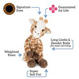 """15"""" Buddy Giraffe - front back view of giraffe with text that says, """"Signature Eyes; Guaranteed for Life; Long Limbs and Slender Body -for easy carrying-; Weighted Paws; and Super Soft Fur.  image number 5"""