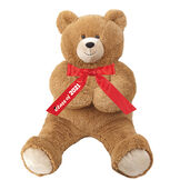 """3' Hunka Love Bear with Class of 2021 Graduation Bow with Tails - Seated brown 3 bear with Red Satin bow with """"Class of 2021"""" in white lettering and a black mortar board on the right tail image number 0"""