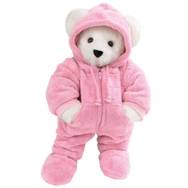 """15"""" Hoodie Footie Bear - Front view of standing jointed bear dressed in pink hoodie footie personalized with """"Emily"""" in white on left chest - Vanilla white fur image number 3"""