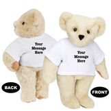 """15"""" Say Anything T-Shirt Bear - Front view of standing jointed bear dressed in white t-shirt with black graphic that says, """"Your message here"""" on the front and the back of the shirt - Buttercream brown fur image number 1"""