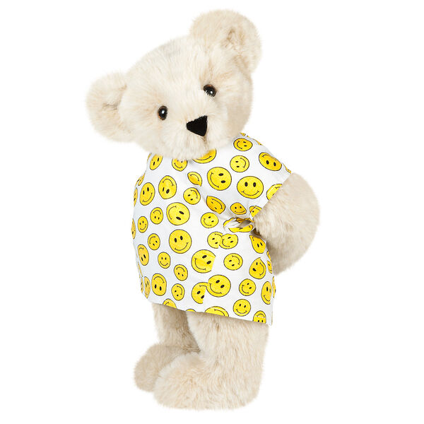"""15"""" Get Well Bear - Three quarter view of standing jointed bear dressed in a white johnny with yellow happy faces - Buttercream brown fur image number 1"""