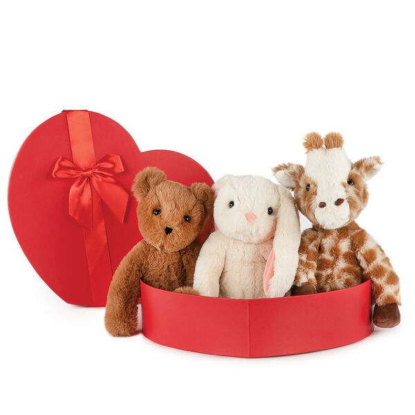 "15"" Buddy Collection with Heart Box -  Set of 3 - Bear, Giraffe and Bunny sitting in a red heart shaped box with red satin ribbon trim image number 1"
