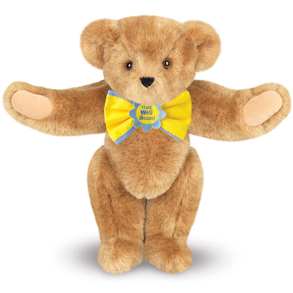 """15"""" """"Get Well"""" Bow Tie Bear - Standing jointed bear dressed in yellow bow tie with blue trim; """"Get Well Soon"""" is embroidered on floral center - Honey brown fur image number 0"""