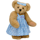 "15"" Mother Bear - Three quarter view of standing jointed bear dressed in blue floral dress and hair bow personalized with ""Susan"" in purple on bodice of dress - Honey brown fur image number 0"
