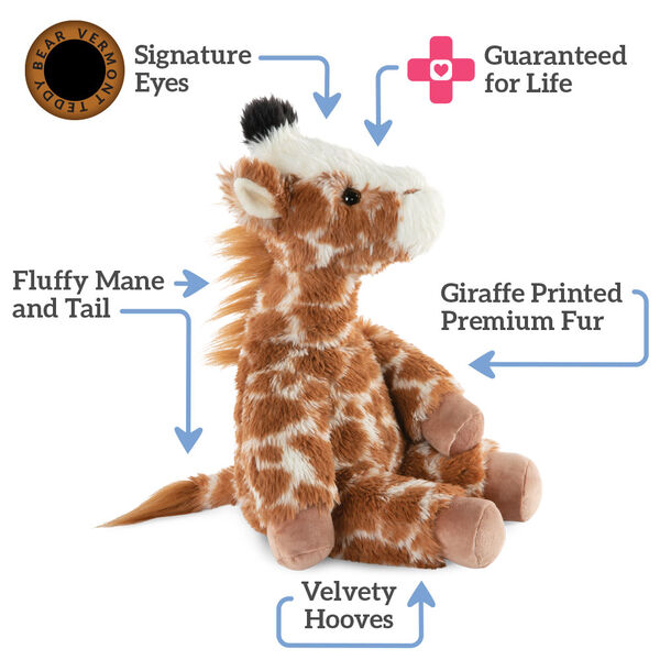 "18"" Oh So Soft Giraffe - Side view of seated brown and tan patterned Giraffetext reads ""Signature Eyes; Guaranteed For Life; Giraffe Printed Premium Fur; Velvety Hooves;  Fluffy Mane and Tail"".  image number 1"