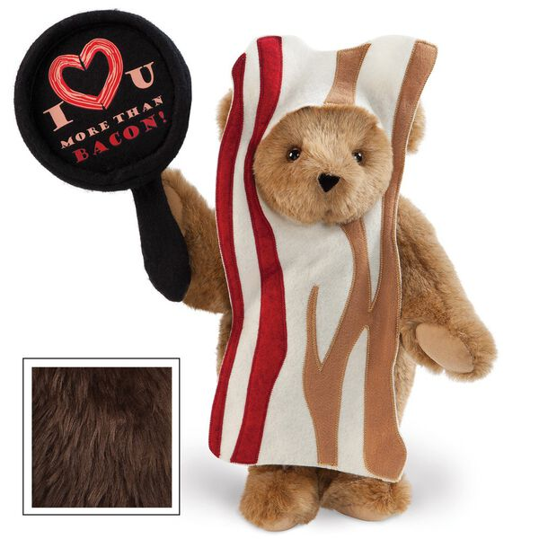 """15"""" I Love You More than Bacon - Front view of standing jointed bear dressed in tan bacon costume holding a pan that says""""I """"heart"""" U more than bacon!"""" - Espresso brown fur image number 5"""