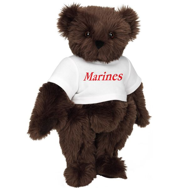 "15"" Marines T-Shirt Bear - Front view of standing jointed bear dressed in white t-shirt with red graphic that says, ""Marines"" - Espresso brown fur image number 6"