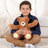 """18"""" Pocket Pal Bear - Front view of boy hugging 18"""" ginger brown bear with pocket on the left chest and hidden pocket in the back image number 2"""