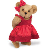 "15"" Sweetheart Teddy Bear - Three quarter view of standing jointed bear dressed in red velvet and satin dress and hair bow with heart lace trim and heart applique on front of dress - Honey brown fur image number 0"