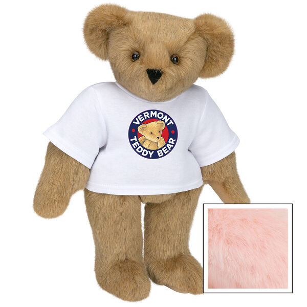"""15"""" Classic Vermont Teddy Bear Logo T-Shirt Bear - Front view of standing jointed bear dressed in white t-shirt with Vermont Teddy logo on front - Pink image number 5"""