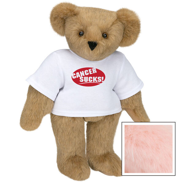 """15"""" Cancer Sucks T-Shirt Bear - Standing jointed bear dressed in white t-shirt with red graphic that says, """"Cancer Sucks!"""" - Pink image number 5"""