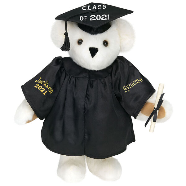 """15"""" Graduation Bear in Black Gown - Front view of standing jointed bear dressed in black satin graduation gown and cap and holding a rolled up diploma personalized """"Jackson 2021"""" on right sleeve and """"Syracuse"""" on left in gold - Vanilla image number 2"""