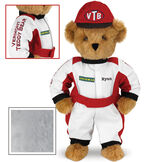 """15"""" Racecar Driver Bear - Front view of standing jointed bear dressed in red and white racing suit and hat with """"Vermont Teddy Bear"""" on sleeve, """"Good Bear"""" on chest and """"VTB"""" on hat. Personalized with """"Ryan"""" in black - Gray image number 4"""