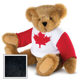 """15"""" Maple Leaf Sweater Bear - Three quarter view of seated jointed bear dressed in white knit sweater with red maple leaf on front and red sleeves  - Black image number 5"""