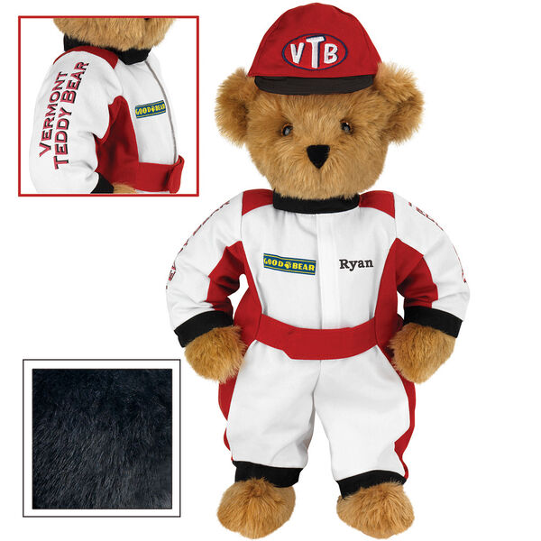 """15"""" Racecar Driver Bear - Front view of standing jointed bear dressed in red and white racing suit and hat with """"Vermont Teddy Bear"""" on sleeve, """"Good Bear"""" on chest and """"VTB"""" on hat. Personalized with """"Ryan"""" on in black - Black fur image number 3"""