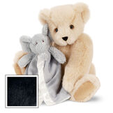 "15"" Cuddle Buddies Gift Set with Elephant Blanket - 15"" jointed seated bear with gray elephant blanket - Black image number 3"