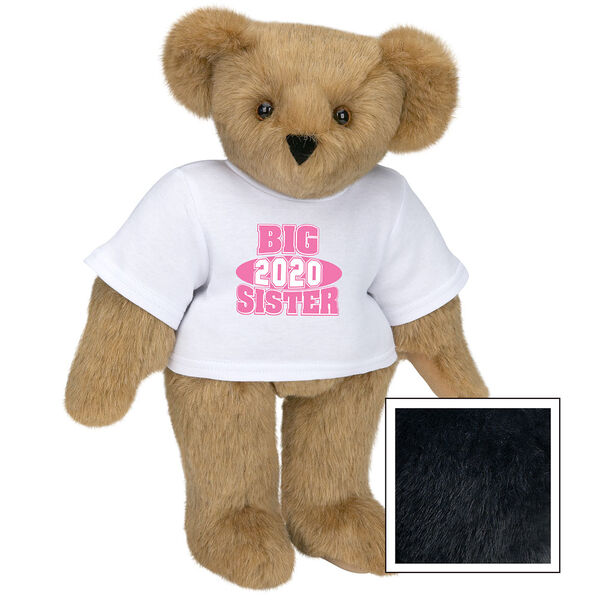 """15"""" 2020 Big Sister T-Shirt Bear - Standing jointed bear dressed in a white t-shirt with bright pink and white artwork that says, """"Big Sister 2020"""" on the front of the shirt - Black fur image number 3"""