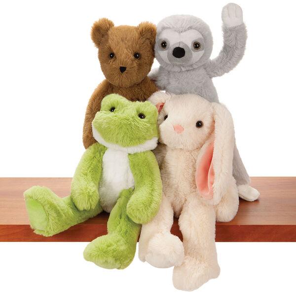 "15"" Buddy Frog - Group image of seated plush green slim frog sitting on a shelf with Buddy Sloth, Buddy Bunny and Buddy Bear image number 5"